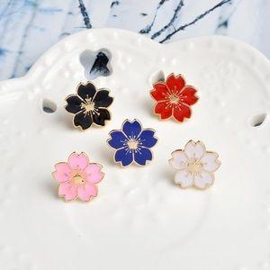 Super Cute Colorful Japanese Sakura Flower Pin Set